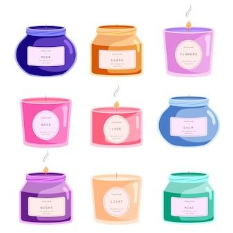 Paquete de velas perfumadas dibujadas a mano