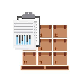 Paquete y icono de lista de verificación.