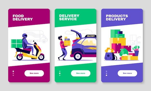 Los paquetes de alimentos y las pancartas verticales del servicio de entrega establecen la ilustración