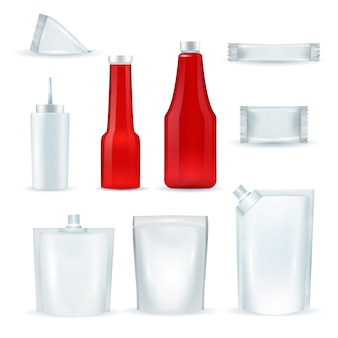 Paquetes de botellas de salsa realisic set