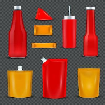 Paquetes botellas salsa sobre fondo transparente