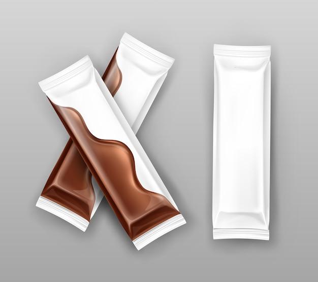 Paquetes de chocolate de flujo blanco en estilo realista