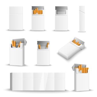 Paquetes de cigarrillos en blanco realistas