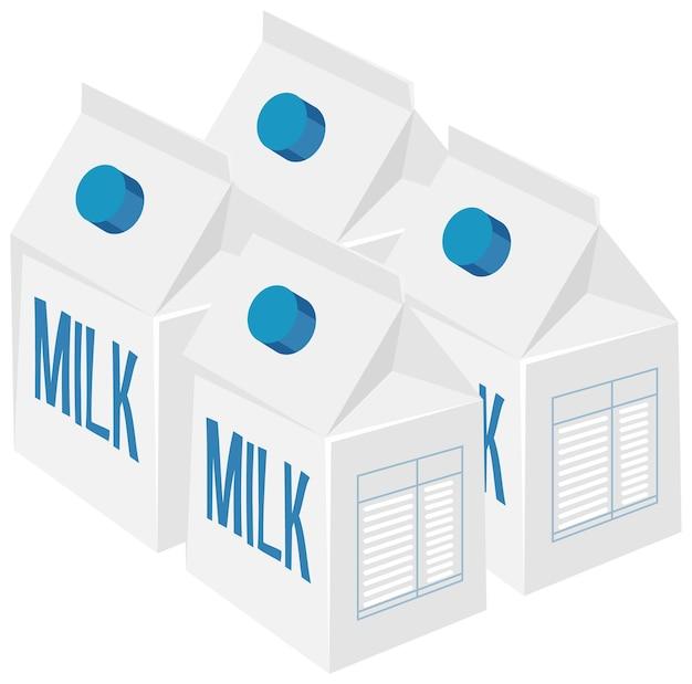 Paquetes de leche aislados en blanco