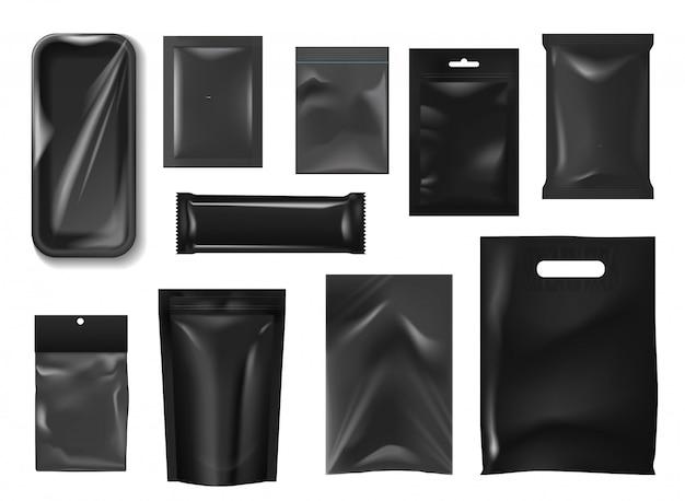 Paquetes de plástico, bolsas realistas, paquete de alimentos.