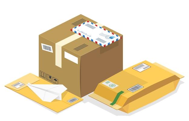 Paquetes postales isométricos, correos