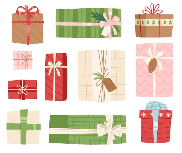 Paquetes de regalo de caja de regalo de navidad o cumpleaños ilustración celebración giftbox arco objeto en el fondo