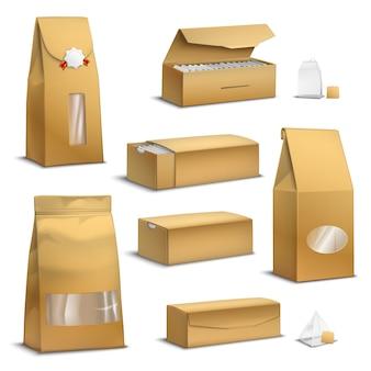 Paquetes de té de papel kraft realistas