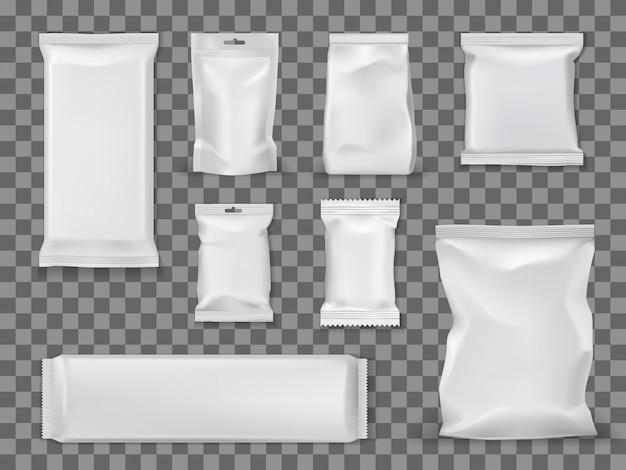 Paquetes de vacío en blanco, bocadillos de comida paquetes vacíos