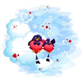 Un par de amantes de los pájaros están sentados en una nube. tarjeta de san valentín.