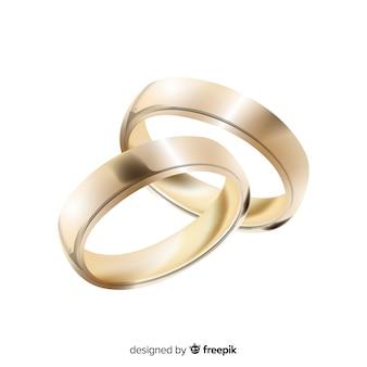 Par de anillos de boda realistas dorados