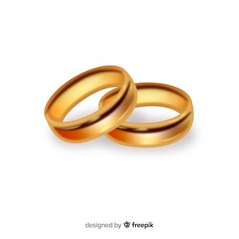 Par de anillos de bodas de oro realistas
