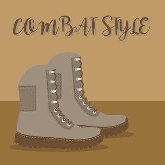 Un par de botas de ejército marrón.