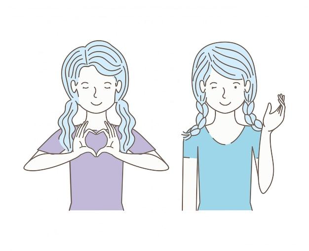 Par de chicas hablando avatares personajes