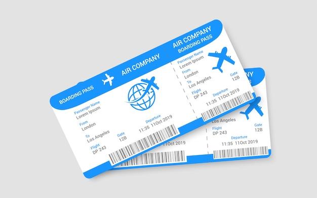 Par de concepto de boletos de avión realistas