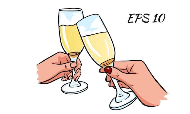 Un par de copas de champán en la mano. velada romantica. ilustración vectorial aislado en un fondo blanco.