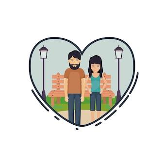 Par de dibujos animados de mujer y hombre dentro de corazón. relación, familia, romance, y, amor, tema paisaje