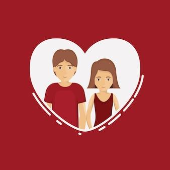 Par de dibujos animados de mujer y hombre dentro de corazón. relación, familia, romance, y, amor, tema vector ill