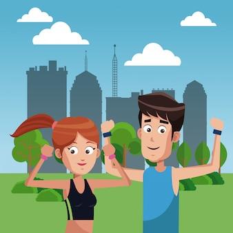 Par de fitness en caricaturas del parque