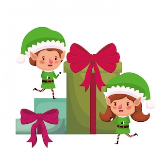 Par de duendes con personajes de avatar de cajas de regalos