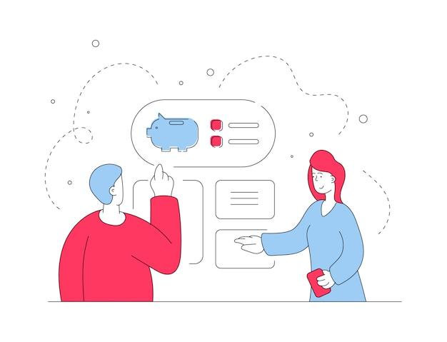 Par elegir opciones de cuenta bancaria. ilustración de línea