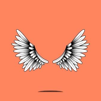 Par de elemento de alas sobre un fondo naranja
