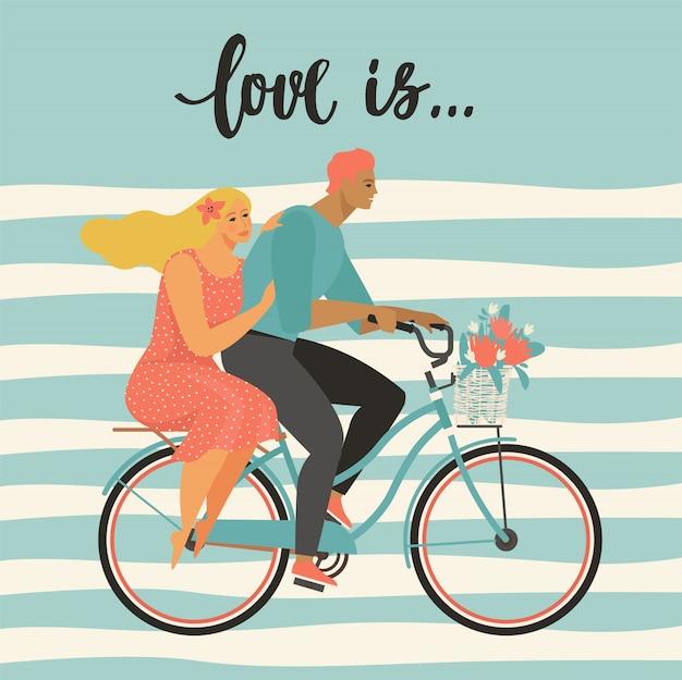 El par feliz está montando una bicicleta junto y vector feliz del ejemplo del día de tarjetas del día de san valentín.