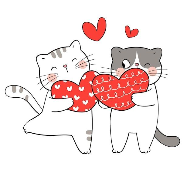Par de gato con corazón para san valentín.