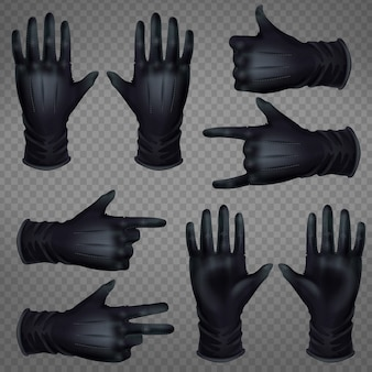 Par de guantes de cuero negro.