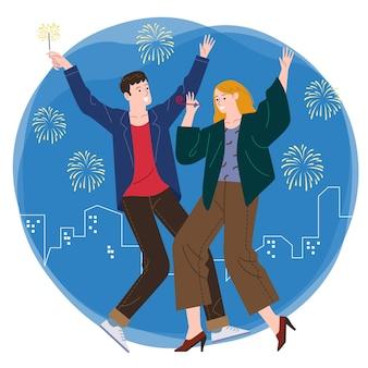 Un par de hombres y mujeres jóvenes tienen una fiesta juntos con el telón de fondo de los fuegos artificiales y la ciudad por la noche