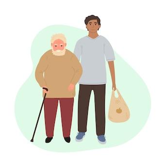 Par de ilustración de personajes, voluntario ayudando a hombre de pelo gris mayor a llevar productos.