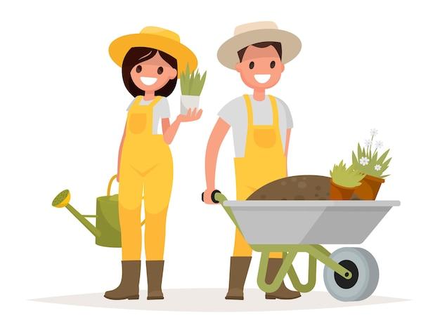 Un par de jardineros. hombre con carretilla de tierra, una mujer sosteniendo una maceta y regadera.
