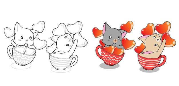Par lindo gato en taza de café y corazones página para colorear de dibujos animados