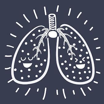 Par de lindos y divertidos personajes de pulmones humanos sonrientes