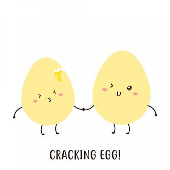 Par de lindos huevos felices cracking diseño vectorial