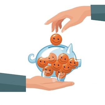 Par de manos humanas depositando monedas en forma de cara feliz en una alcancía de dinero