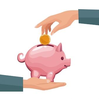 Par de manos humanas depositando monedas en una hucha de dinero