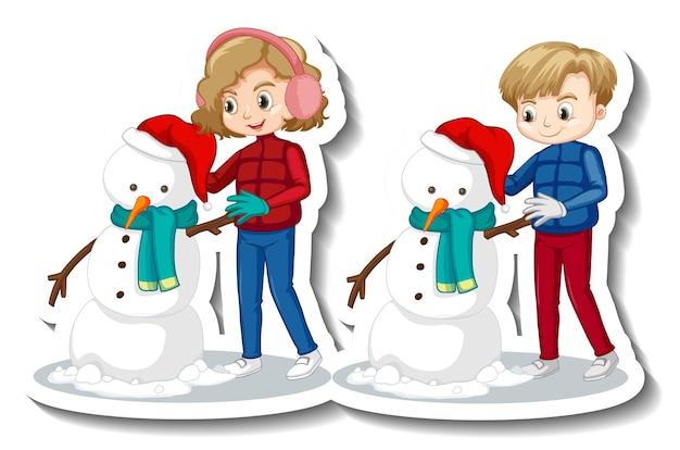 Par de niños construyendo muñeco de nieve personaje de dibujos animados pegatina