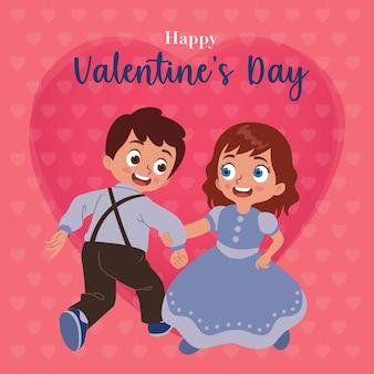 Un par de niños y niñas bailan con un fondo de corazón rosa para dar la bienvenida al día de san valentín
