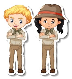 Par de niños en traje de safari personaje de dibujos animados pegatina