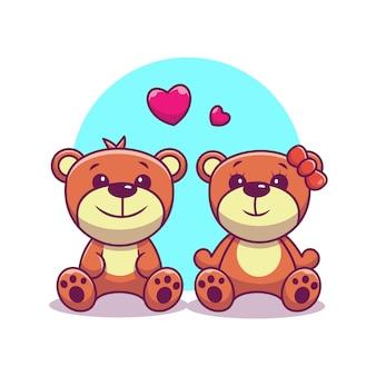 Par de oso de peluche en el icono de amor. oso y amor, animal icono blanco aislado