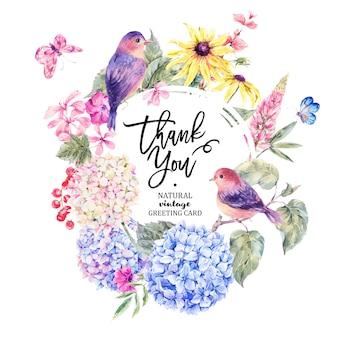 Par de pájaros con tarjeta de flores silvestres en flor