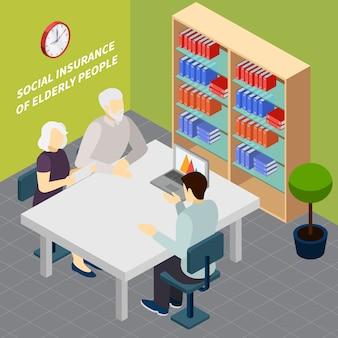 Par de pensionistas durante la comunicación con el empleado del servicio de seguridad social ilustración vectorial isométrica