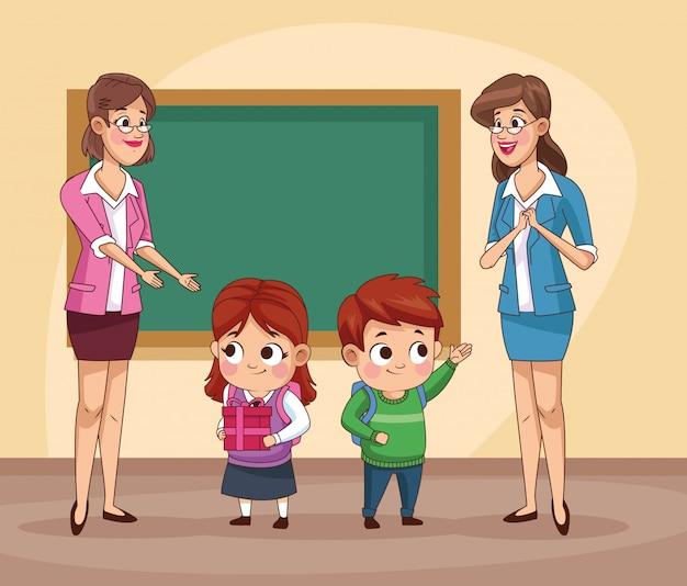 Par de pequeños estudiantes niños con profesor en el aula ilustración
