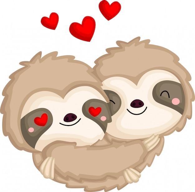 Un par de perezosos enamorados abrazándose