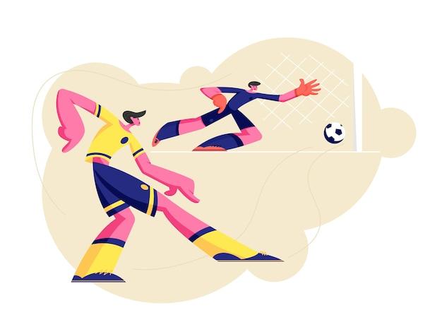 Par de personajes de hombres jóvenes en uniforme deportivo practicando fútbol