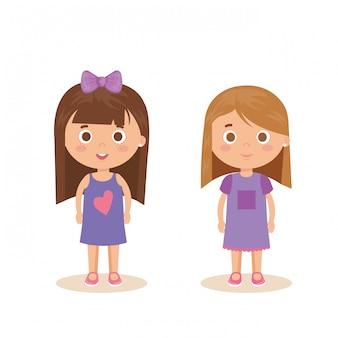 Par de personajes de niñas pequeñas
