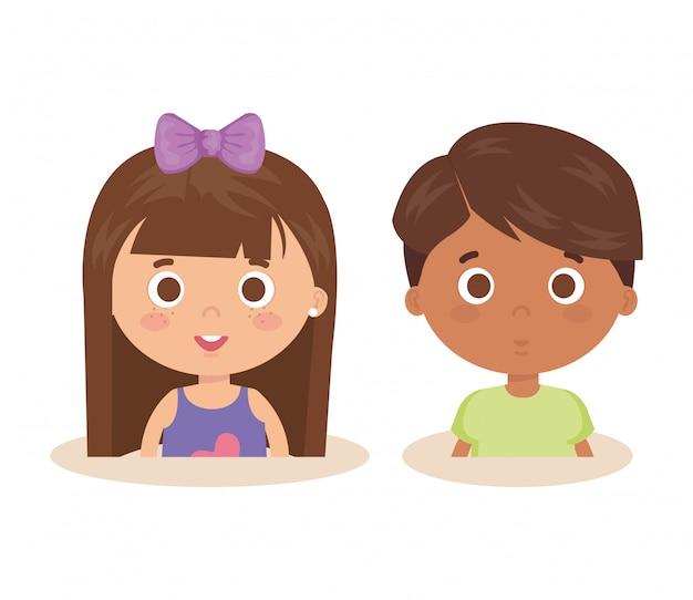 Par de personajes de niños pequeños