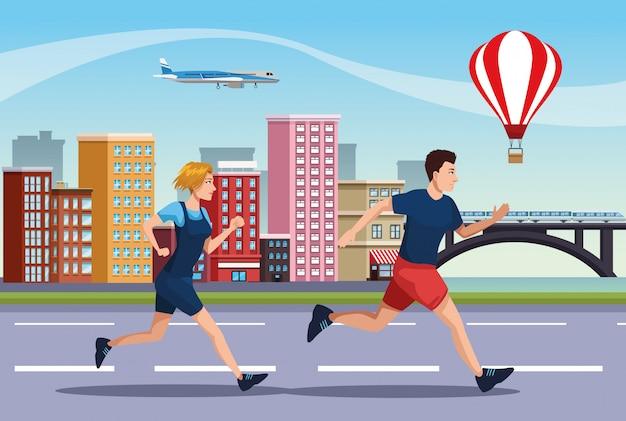 Par de personas corriendo en la ilustración de la carretera
