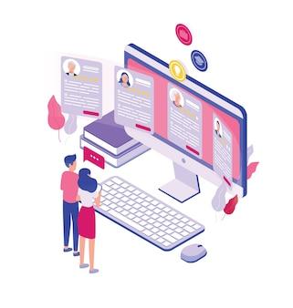 Par de personas diminutas de pie frente a una pantalla de computadora gigante y mirando a través de solicitudes de empleo aisladas sobre fondo blanco. concepto de contratación de personal. ilustración isométrica.